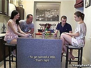 Young Sex Parties - Two hot teen chicks and two horny guys