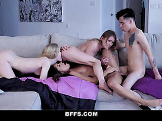 BFFS - Sexy Teen BFFs Fuck A Big Dick Stepbrother