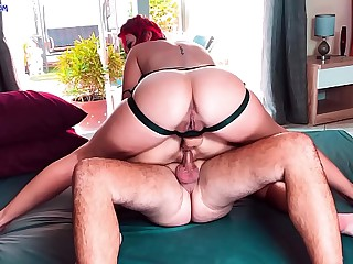Hot FFM threesome DP with lesbian strapon and real dick. Huge anal creampie