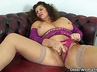 Busty mature Jasmine de Launay from the UK gets rather horny in a wedding dress and fingers her delicious cunny (brand NEW video available in Full HD 1080P). Bonus video: English milf Gilly.