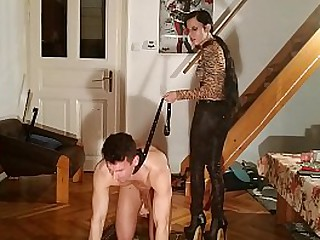 Ballgagged and leashed slave get humiliated by her Slim Mistress pt2 HD