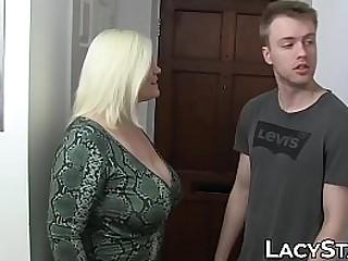 Lascivious GILF bouncing on young cock